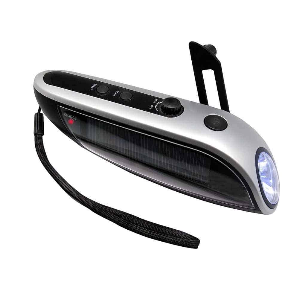 Lampe de poche LED Solaire + Dynamo + Chargeur Mobile + Radio FM