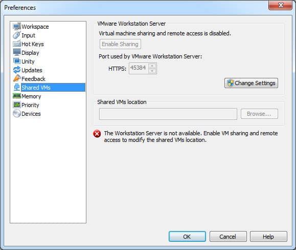 Paramètres de connexion de VMware à modifier