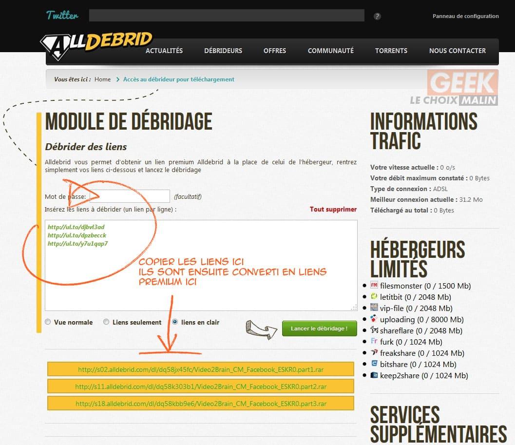 AllDebrid générateur de lien premium