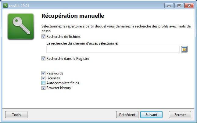 Récupération mot de passe avec Recall
